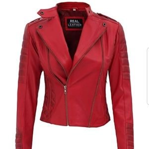 NEW! XXL Lambskin Leather red bomber jacket